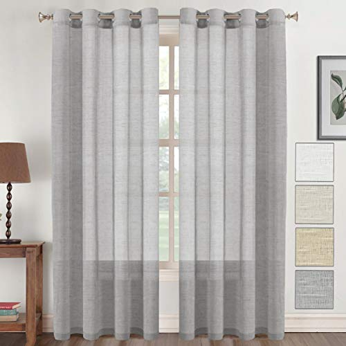- Flamingo P Linen Sheer Curtains 96 Window Treatment Panels Open Weave Linen Blended Sheer Curtains with Nickel Grommet (52 by 96 Inch, 1 Pair, Dove Grey)