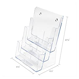 Deflecto 77301 Three-tier multi-compartment large size docuholder, 9-1/2wx8dx12-5/8h, clear
