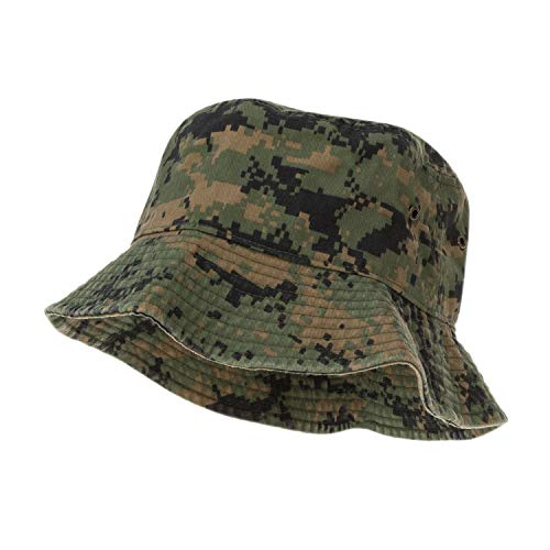 Bandana.com 100% Cotton Bucket Hat for Men, Women, Kids - Digital Camo - Single Piece - Large/Extra Large Size - Summer Cap Fishing Hat ()