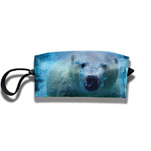 Cosmetic Bags With Zipper Makeup Bag Polar Bear Middle Wallet Hangbag Wristlet Holder -