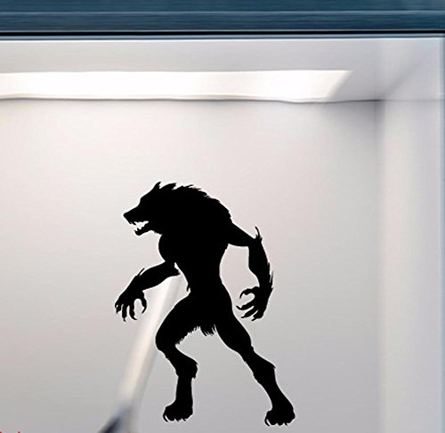 BIBITIME Halloween Man Wolf Vinyl Decal for Living Room Study Classroom Nursery Kids Room Wall Decor Festival Shop Showcase Display Window Sticker PVC Decorations for $<!--$8.99-->