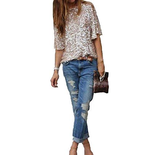 Leezeshaw Womens Shimmer Sequin Embellished Sparkle Blouse Top Shirt