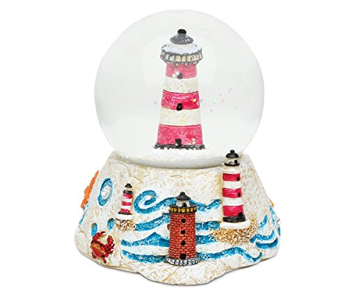 Puzzled Pink Stripes Lighthouse Snow Globe Resin Sailboat Brick Collection Ocean Life Nautical Aquatic Marine Theme Room Decor Table Top Accent Size: 3.55 x 3.75 inches Novelty Craft Decorative Gift