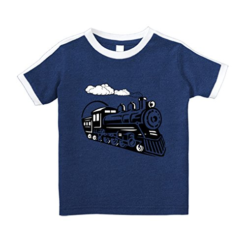 Crewneck Train (Cute Rascals Vintage Trains Cotton Short Sleeve Crewneck Unisex Toddler T-Shirt Soccer Tee - Royal Blue, 4T)