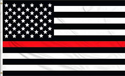 Aimto 3x5 FT Thin Red Line USA Polyester Flag - Bright Colors and Anti-Fading Materials - American Honoring Firefighter Flags Polyester Canvas and Brass Buttonhole - Quality Assurance
