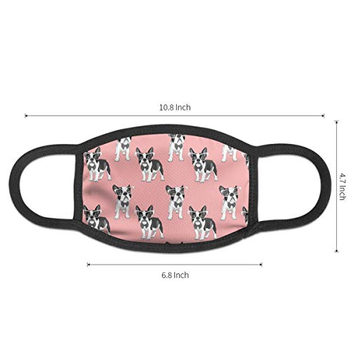 Cartoon French Bulldog Pattern Mouth Mask,Dust-Proof Face Masks for Girls Boys,Washable and Reusable Black