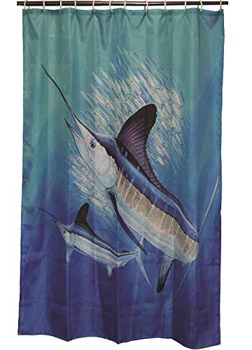 (River's Edge Guy Harvey Marlin Shower Curtain, 70