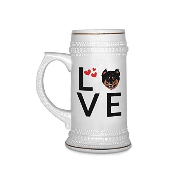 Custom Beer Mug Love Hearts English Shepherd Dog Ceramic Drinking Glasses Beer Gifts White 18 OZ Design Only 1