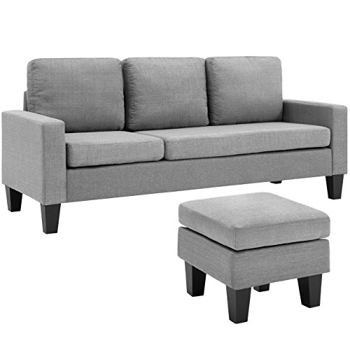Best Choice Products Multifunctional Linen 3-Seat L-Shape Sectional Sofa Couch w/ Reversible Chaise Ottoman - Gray