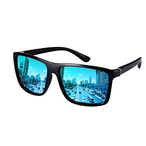 Polarized Sunglasses for Men Driving, Unisex Sun Glasses Square Vintage 100% UV Protection Glasses for Men/Women (Blue)