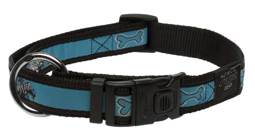Rogz Fancy Dress Extra Large 1-Inch Armed Response Dog Collar, Turquoise Chrome Design