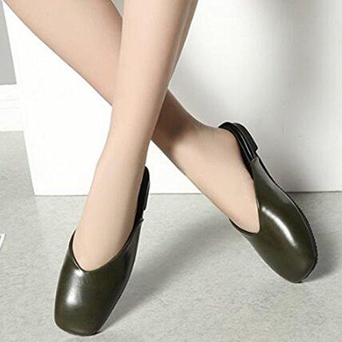 Easemax Donna Semplice Punta Quadrata Senza Chiusura Con Clip Sandali Tacco Piatto Pantofole Verdi