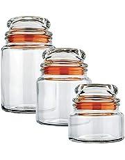 Conjunto Potes de Vidro Multiuso 3 Peças Euro Laranja