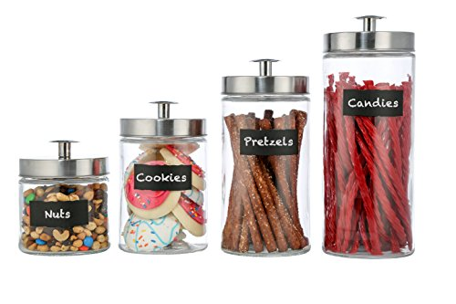 Style Setter Ultimate 4-piece Round Glass Kitchen Canister Set - Crystal Clear Food Storage Containers With Silver Airtight Lids & Chalkboard Labels For Coffee, Pasta, Cookies & More - Assorted Sizes (Label Coffee)