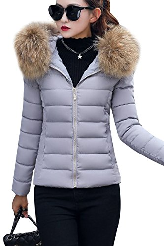C Warm Winter Jacket Winter Jacket With Puffer Fur gray Hood Women Detachable Quilted YMING qfF7wTt7
