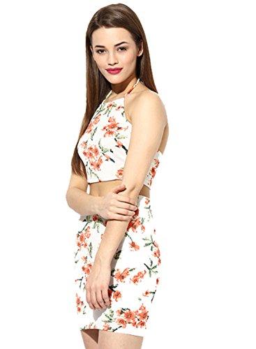Bra Sexy Halfter Elastische Taillenröcke,Weiß,L