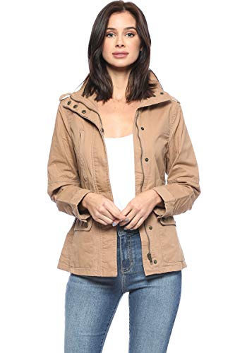Urban Look Women's Zip Up Military Anorak Jackets (Medium, Style A Khaki)