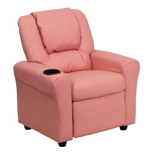 MFO Contemporary Pink Vinyl Kids Recliner with Cup Holder and Headrest