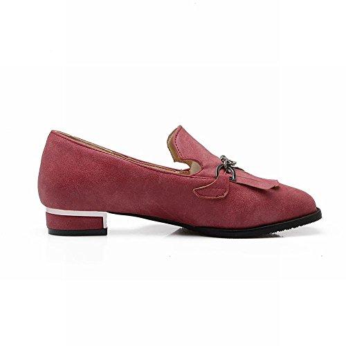 Carolbar Womens Chains Square Toe Tassels Retro Fashion Low Heel Loafers Shoes Retro red wlKk9YZgeu