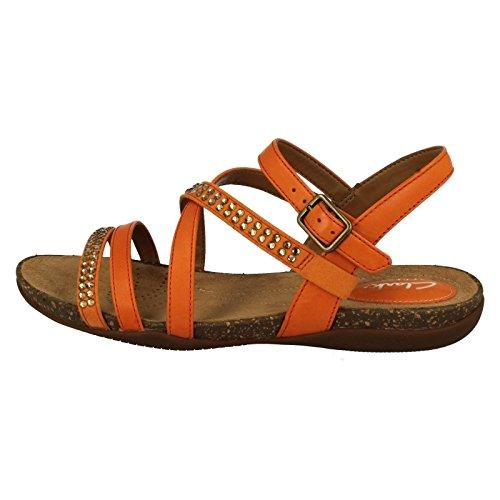 Leather Peace Orange 7 0 Autumn Sandal CLARKS Clarks Womens IqwYYa