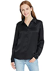 LilySilk Womens 100 Silk Shirts Long Sleeve Pure 22 Momme Charmeuse Button Down Elegant Ladies Tops