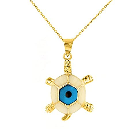 Polished 14k Yellow Gold Good Luck Turtle with Blue Evil Eye Pendant Necklace, 22