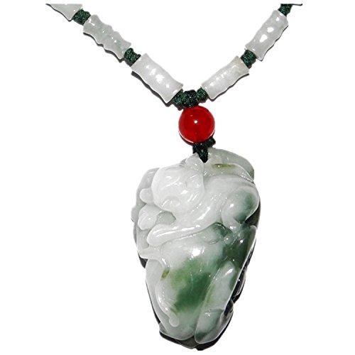 Necklace & Pendant-Fortune Monkey, Certifided Jadeite Jade Necklace