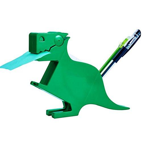 Chris-Wang Multi-functional Plastic Animal Figure Memo Clip Holder Stand Note Pad Dispenser Organizer, With 200Sheets Random Color 2.63''x2.74'' Memo Included (Dark Green Dinosaur)