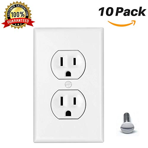 Standard Outlet Covers Duplex Outlet Cover 1-Gang Wall Plate Power Wall Outlet Cover Plate Standard Size Thermoplastic Nylon Device Mount Wallplate, White (10 Pack)