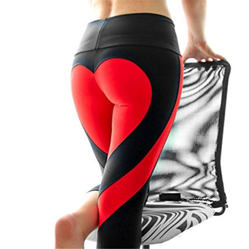 Pantaloni Patchwork Cuore Leggins Collant Push Sportivi Da Up Donna Gym Donne Alta Vita Jogging Fliegend Rosso Leggings Fitness Elastici Yoga Nero Di qZTCIw5p