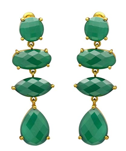 YoTreasure Green Onyx Gold Plated Over Brass Drop Statement Earrings Jewelry ()