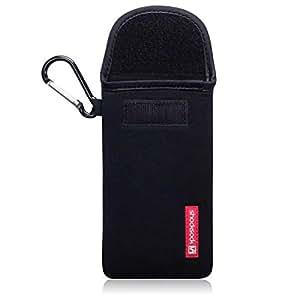 carcasa de la carcasa Shocksock con la bolsa y con mosquetón para Samsung Galaxy S7 - Negro