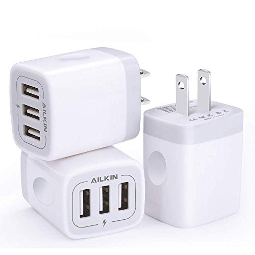 Base Outlets (Wall Charger, USB Charger Adapter, Ailkin 3.1A/3Pack Muti Port Fast Charging Station Power Charge Base Block Plug Replacement for iPhone X/8/7 Plus, Samsung S9/S8/S7, Kindle Fire and More USB Plug)