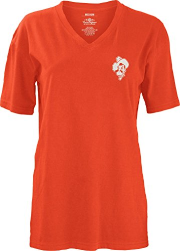 Three Square by Royce Apparel NCAA Oklahoma State Cowboys Mascot Aztec Short Sleeve V-Neck T-Shirt, X-Large, Orange (Oklahoma State Square)