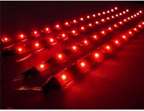4x 3528 SMD DEL Rouge Étanche Flexible Strip Lampes Pour dans//sous voiture