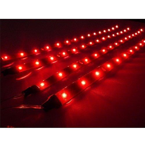 TOOGOO(R) 4 x 30cm striscia LED rossa flessibile e impermeabile per auto
