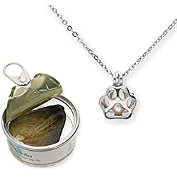 """Pearlina Paw Print Cultured Pearl in Oyster Necklace Set Silver-Tone Pendant w/Stainless Steel Chain 18"""""""