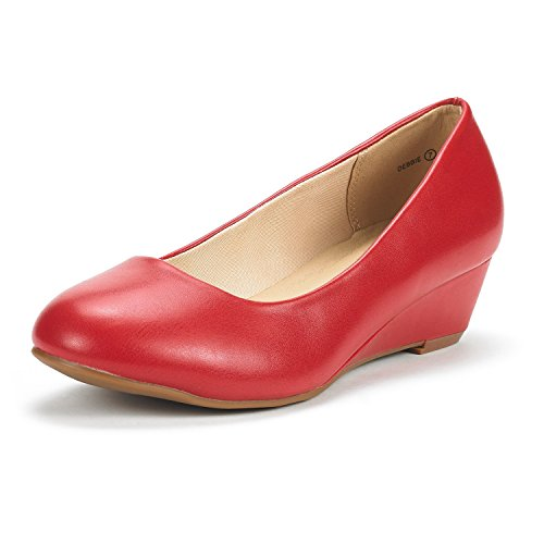 - DREAM PAIRS Women's Debbie Red Pu Mid Wedge Heel Pump Shoes - 10 M US