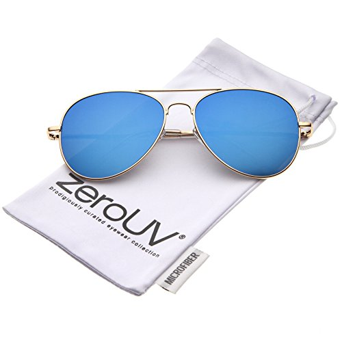 zeroUV - Small Full Metal Color Mirror Teardrop Flat Lens Aviator Sunglasses 56mm (Gold / Blue - Frame Aviators Small
