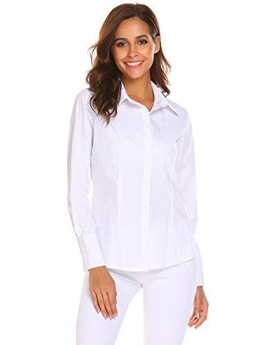 Misakia Womens Collared Button Down Long Sleeve Dress Shirt (White (Button Up Long Sleeved)