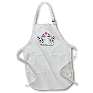 3dRose LLC True Love Comes Along once in A Lifetime Cute Happy Cows Design Medium Length Apron with Pouch Pocket, 22 by 24-Inch by 3D Rose