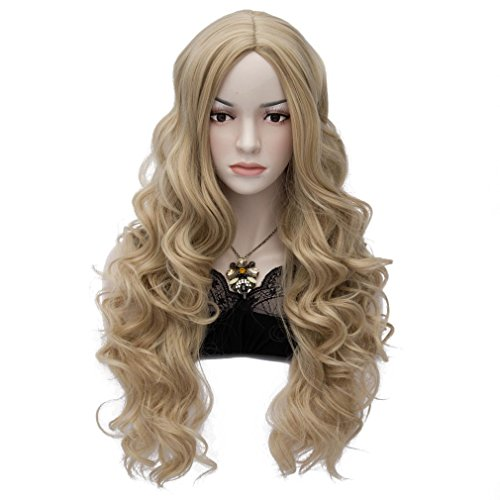 Amybria Women Long Curly Wavy Blonde Hair Wig Party Daily Costume Free Cap Gold A