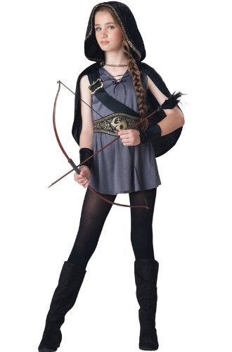 InCharacter Costumes Tween Kids Hooded Huntress Costume, Grey/Black, L (12-14)