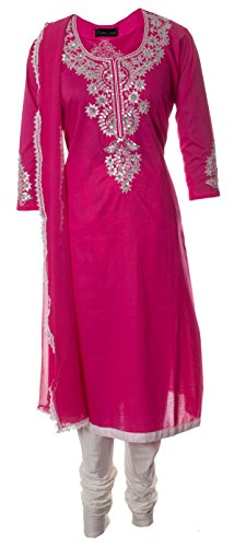 AzraJamil-Eccentric-Cotton-Sequined-Hand-Work-Churidar-Suit-Pink