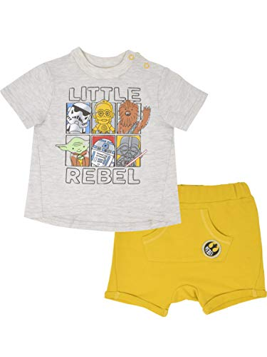 Star Wars Little Rebel Infant Baby Boys Short Sleeve T-Shirt & Shorts Set 24M Off-White/Yellow