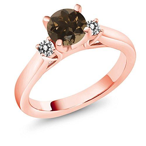 (Gem Stone King 1.00Ct Brown Smoky Quartz White Diamond 18K Rose Gold Plated Silver 3-Stone Ring (Size 7))