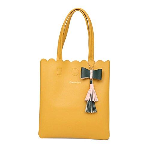 NXDA Girls Women Fashion Tassel Bag Leather Pure Color Bag Single-Shoulder bag Handbag (Yellow) by NXDA (Image #1)