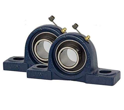Jeremywell 2 Pieces UCP205-16, 1 Inch Pillow Block Bearing, Solid Base, Self-Alignment, Brand New (Mounted Pillow Block Bearings)
