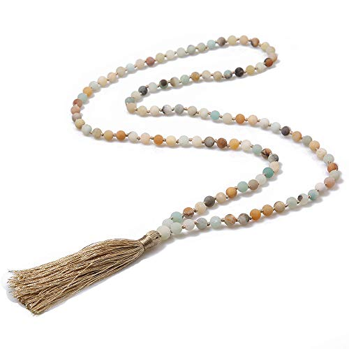 108 Mala Beads Prayer Wrap Bracelet Necklace Hand Knotted Beaded Tassel Necklace for Meditation Rosary