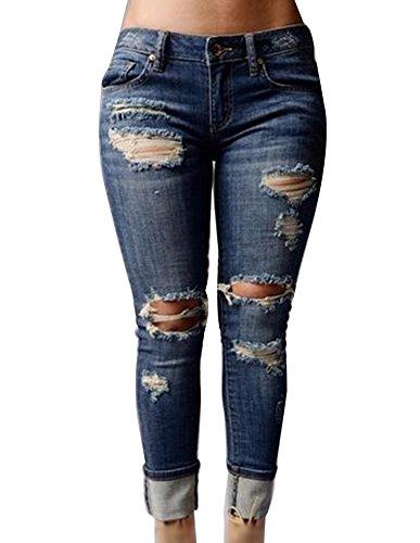 Strappati Jeans Jean Fori Come Donna Immagine Elasticizzati Matita Lavato Moda Slim Pantaloni Yrfwq4Y
